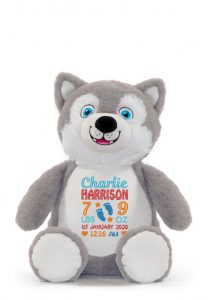 Personalised Husky Teddy Toy Cubby