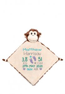 Personalised Baby Comforter Monkey Blanket