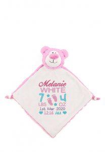 Personalised Baby Comforter Pink Bare Blanket